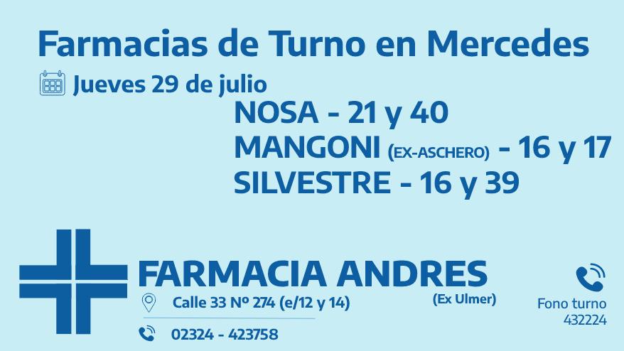 Farmacias de turno del jueves 29 de julio