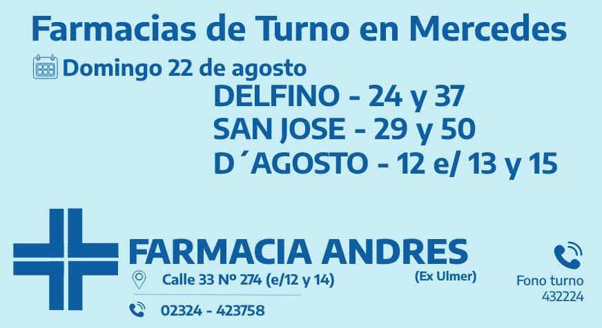 Farmacias de turno del domingo 22 de agosto