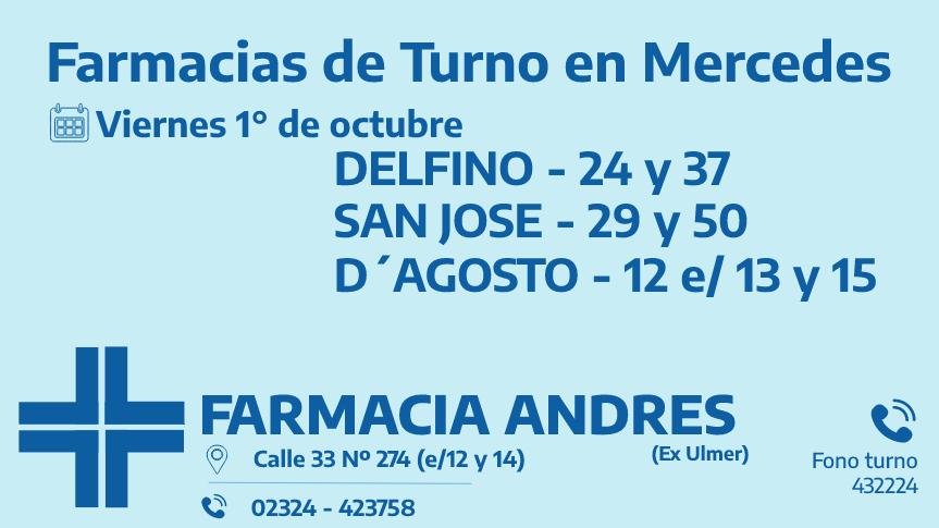 Farmacias de turno del viernes 1° de octubre