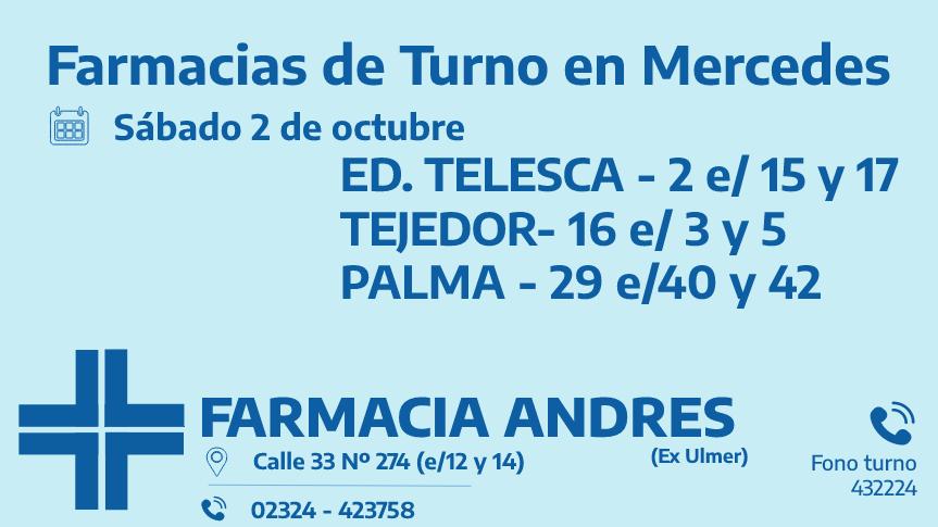 Farmacias de turno del sábado 2 de octubre