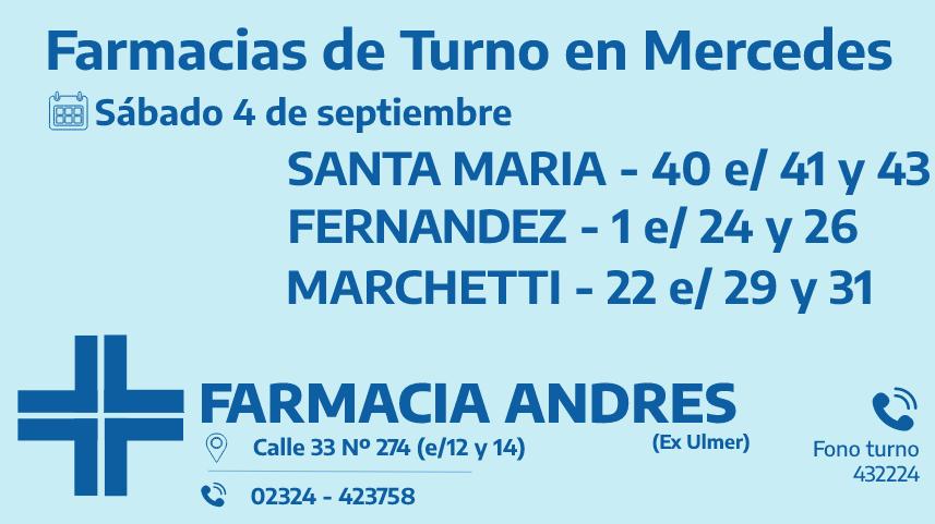 Farmacias de turno del sábado 4 de septiembre