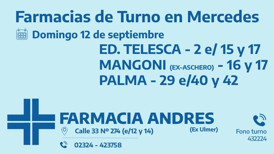 Farmacias de turno del domingo 12 de septiembre