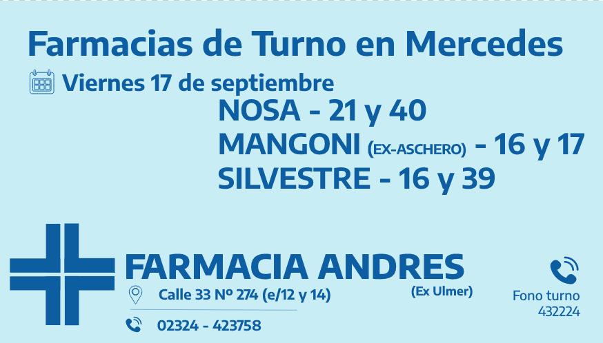 Farmacias de turno del viernes 17 de septiembre