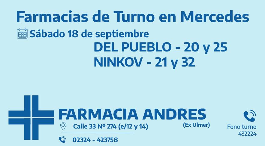 Farmacias de turno del sábado 18 de septiembre