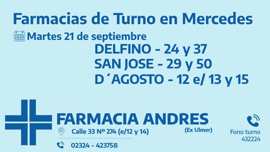 Farmacias de turno del martes 21 de septiembre
