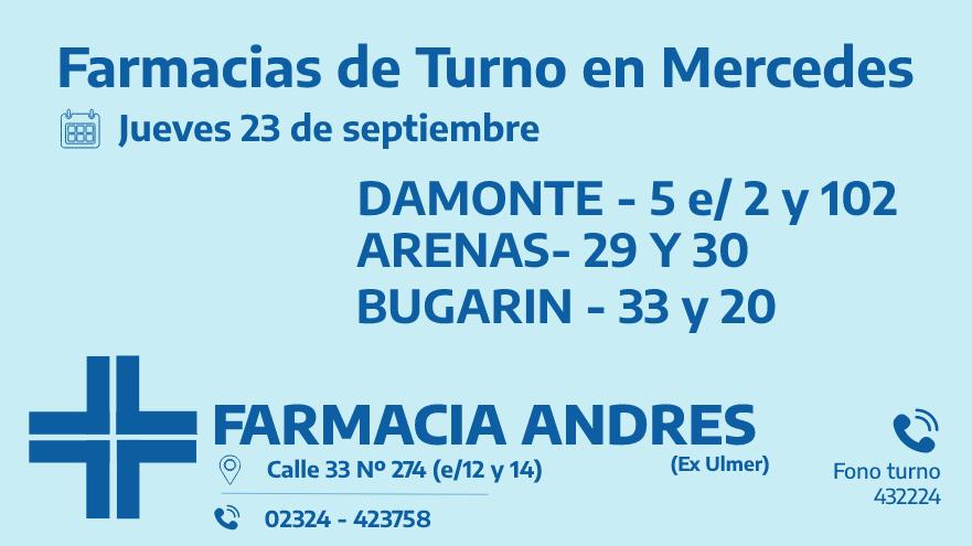 Farmacias de turno del jueves 23 de septiembre