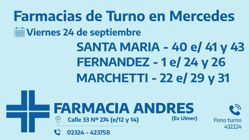 Farmacias de turno del viernes 24 de septiembre