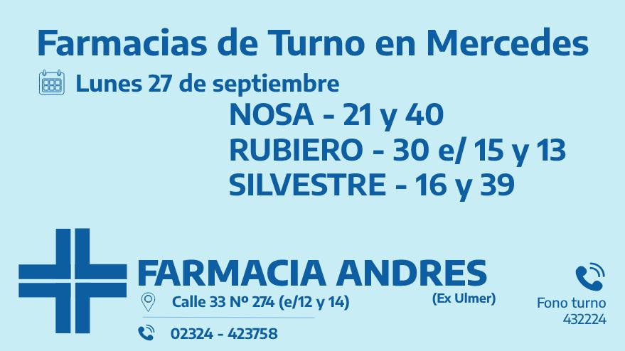 Farmacias de turno del lunes 27 de septiembre