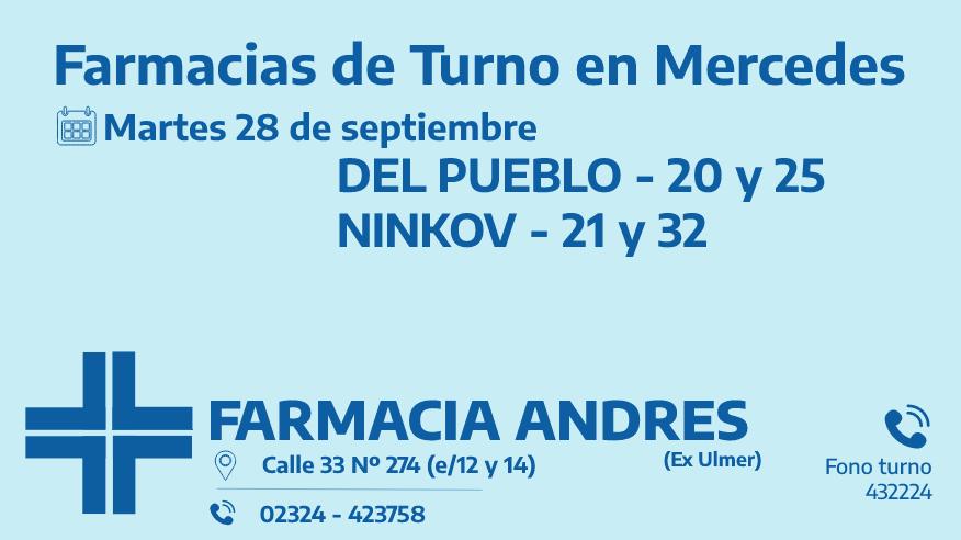 Farmacias de turno del martes 28 de septiembre