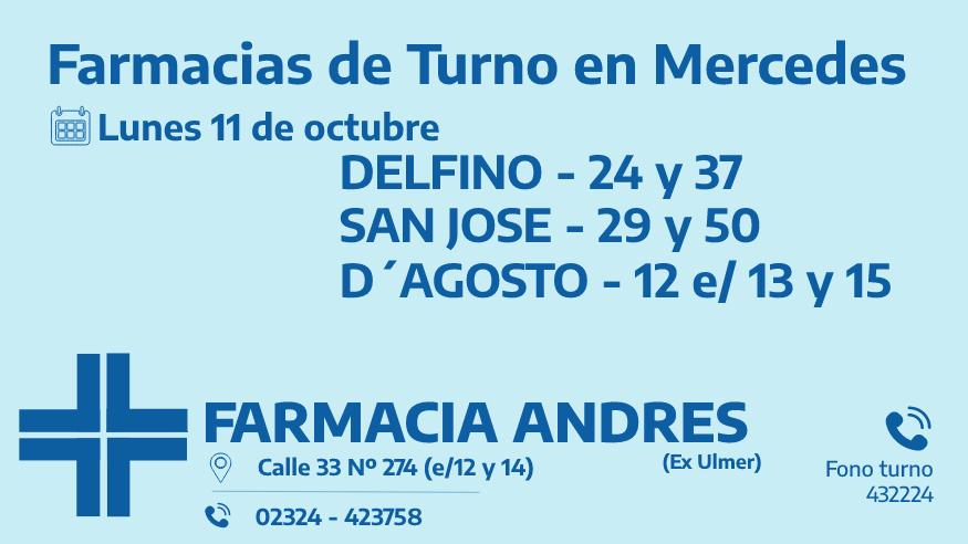 Farmacias de turno del lunes 11 de octubre