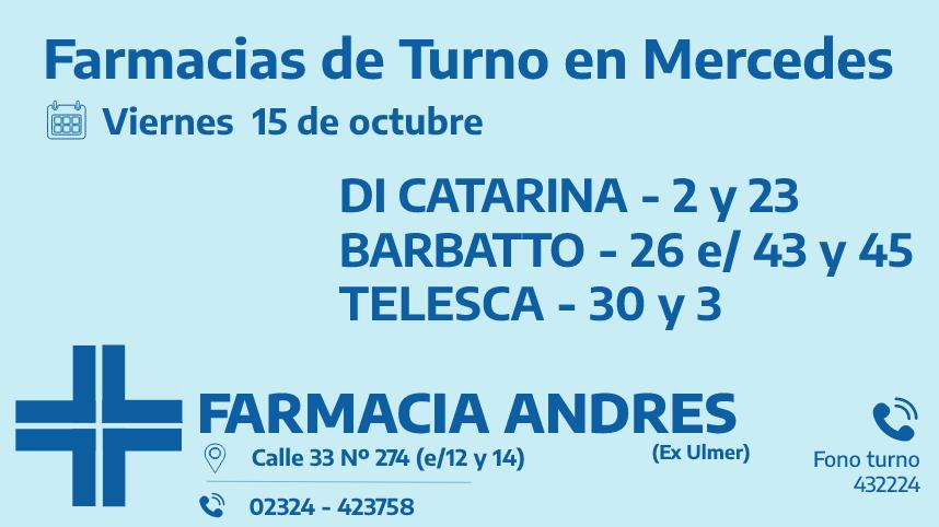 Farmacias de turno del viernes 15 de octubre