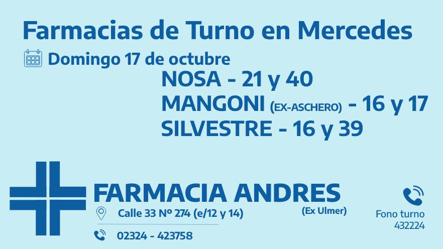 Farmacias de turno del domingo 17 de octubre