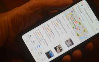 google reviews and ratings on a mobile phone screen
