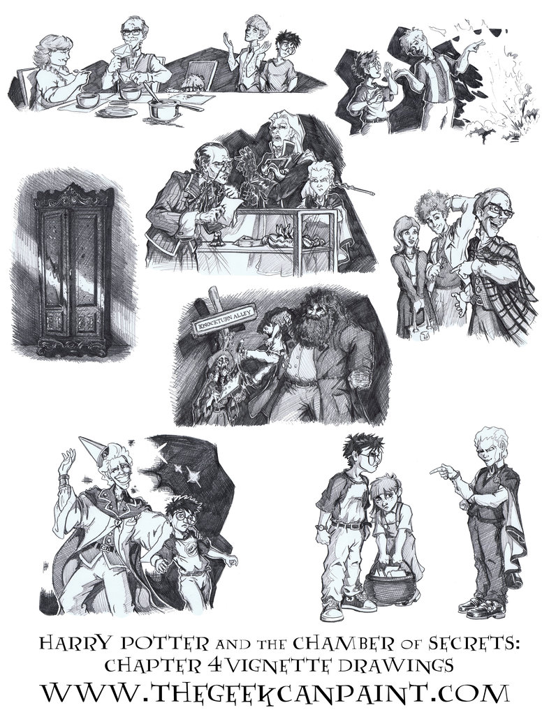 Harry Potter: Book 2 Chapter 4 Vignette Drawings