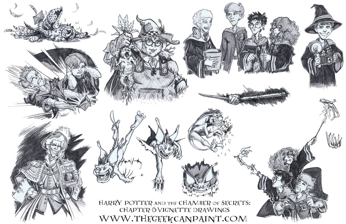 Harry Potter: Book 2 Chapter 6 Vignette Drawings