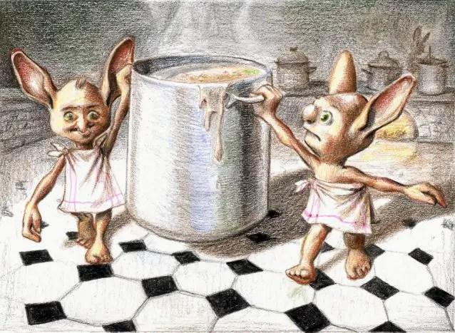 Kresba dvou domácích skřítků, kteří mezi sebou nesou hrnec plný omáčky.