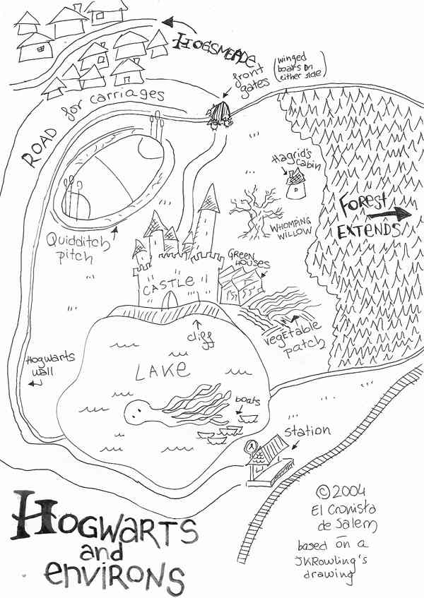 Hogwarts & Environs based on Rowling's map