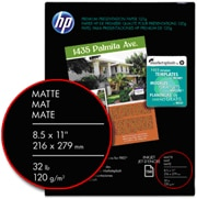 HP wide format paper with paper size, finish, and weight circled