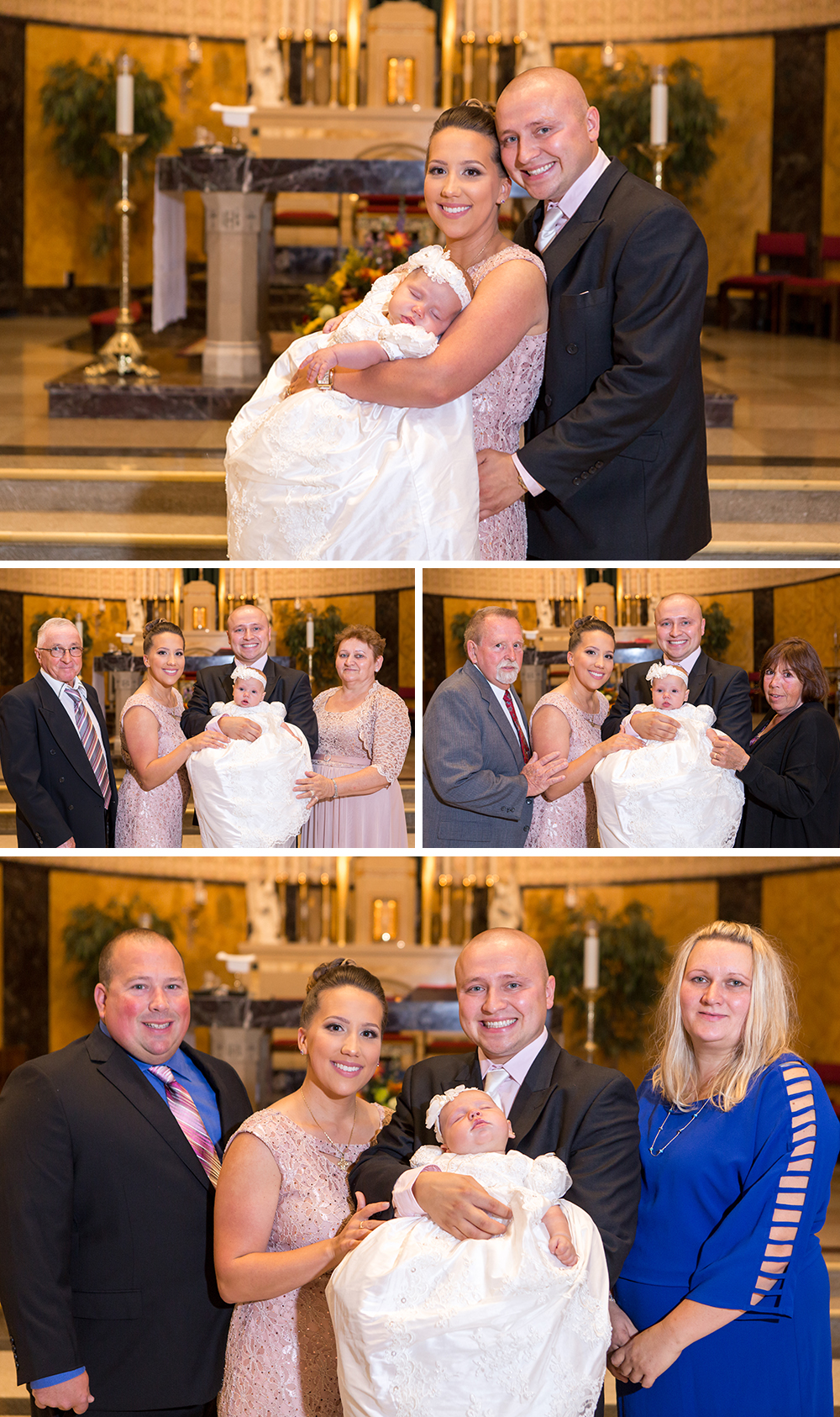 Formal Family Photos in Church after Baptism