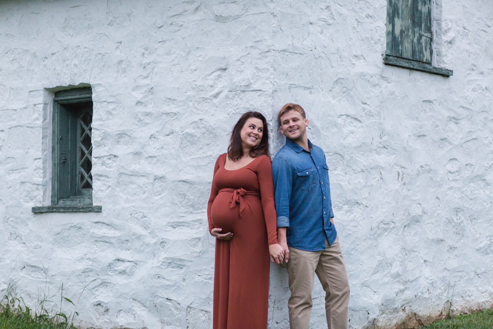 maternity portrait on corner of building