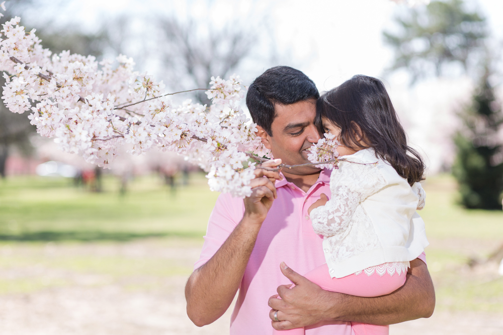 father and daughter in cherry blossom tree