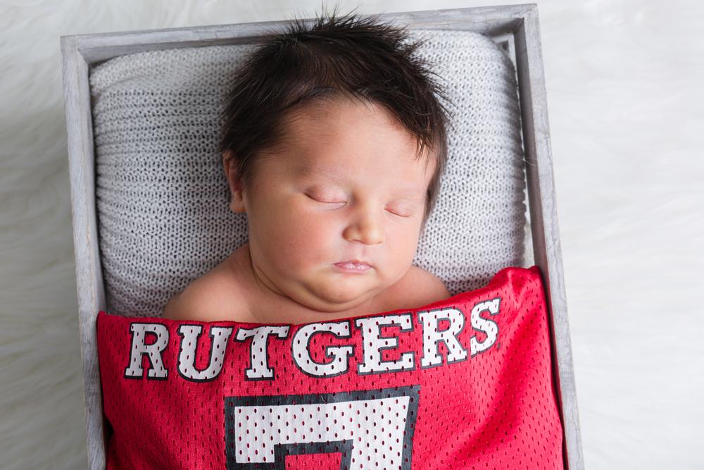newborn with rutgers jersey