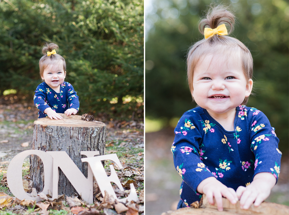 one year old portrait outside