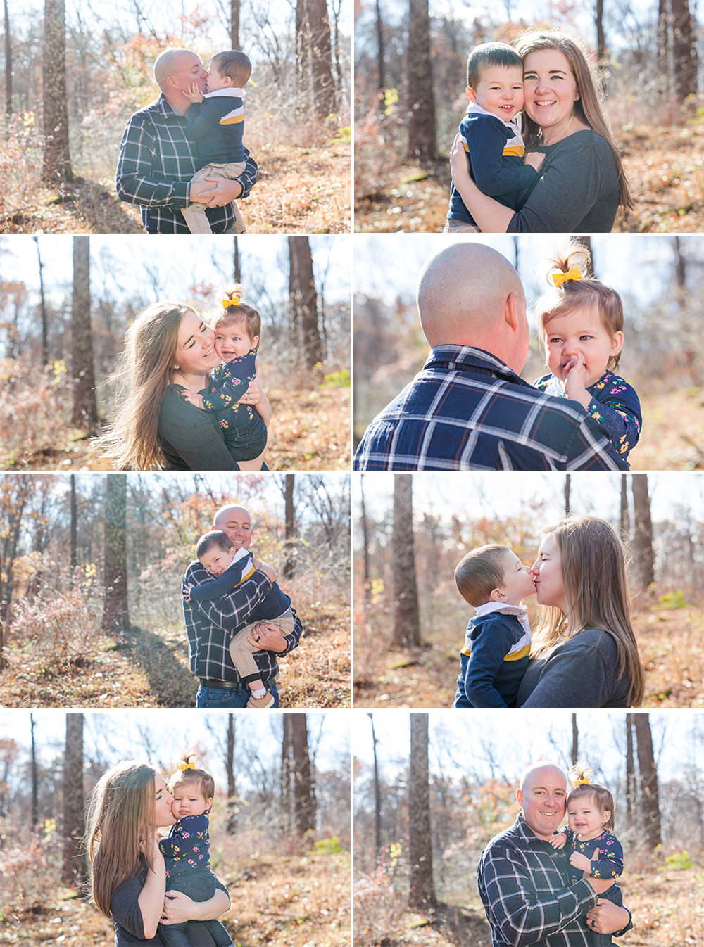 collage of photos of mom and dad with their son and daughter