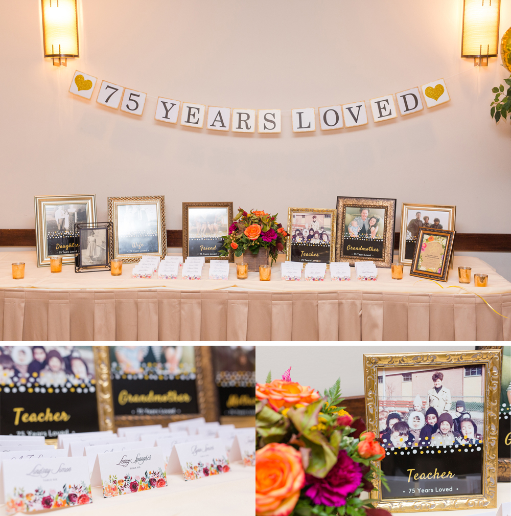 75 years loved theme at a birthday party