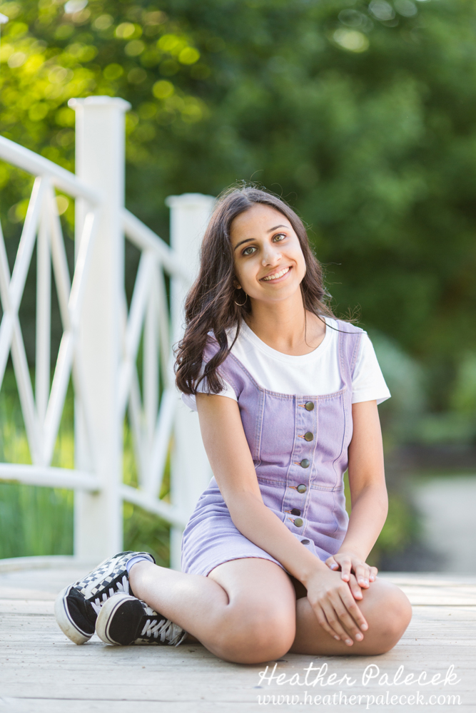 sweet sixteen portrait on bridge at sayen gardens