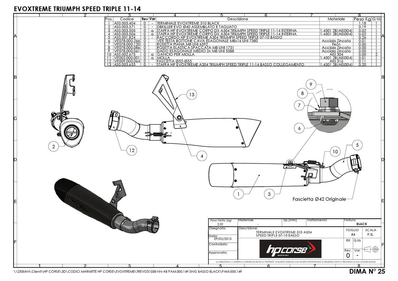 HP Corse. TERMINALE EVOXTREME 310 A304 BLACK TRIUMPH SPEED
