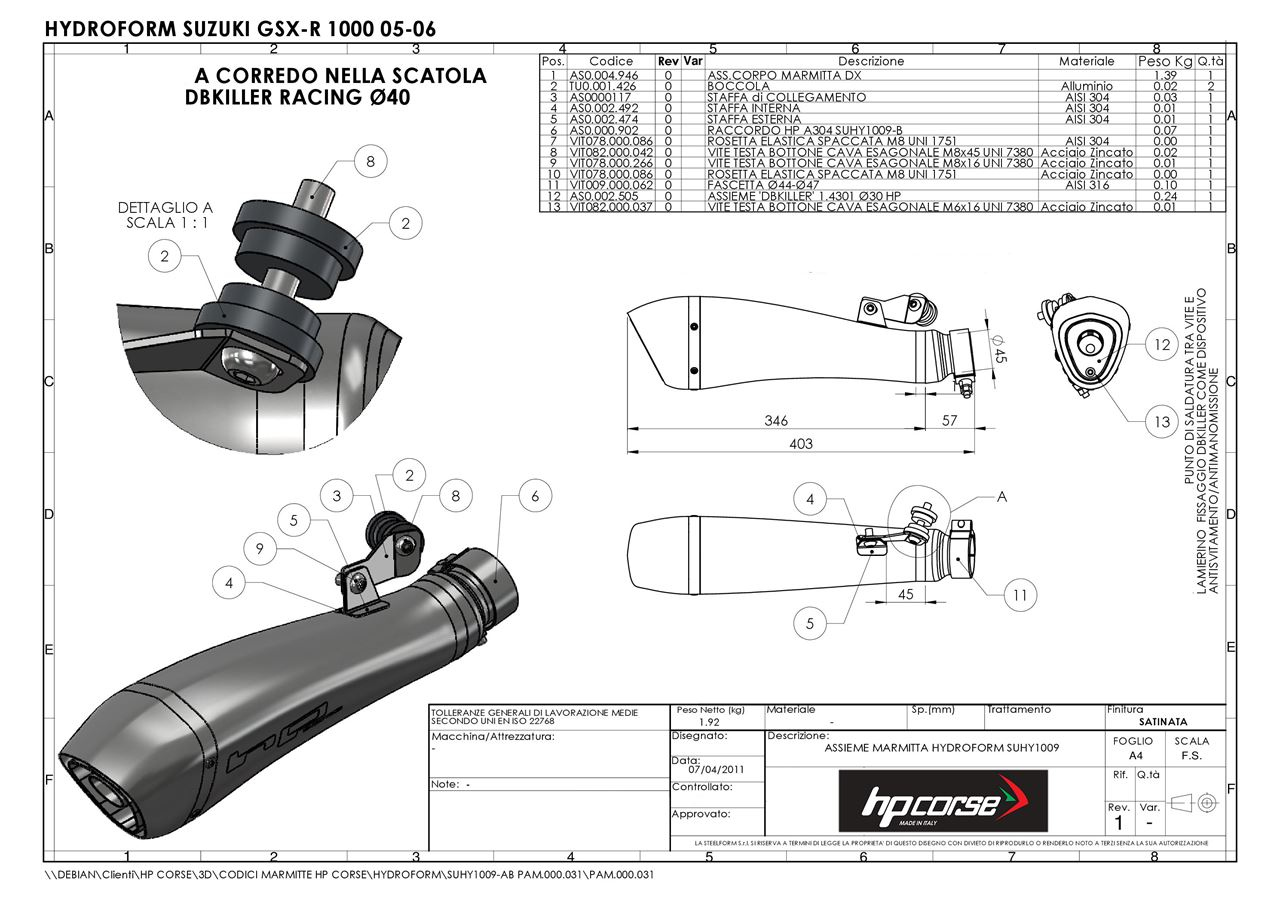 HP Corse. SILENCER HYDROFORM SATIN SUZUKI GSX-R 1000 05-06