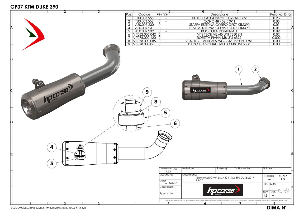 HP Corse. TERMINALE GP07 DX A304 SATINATO KTM 390 DUKE