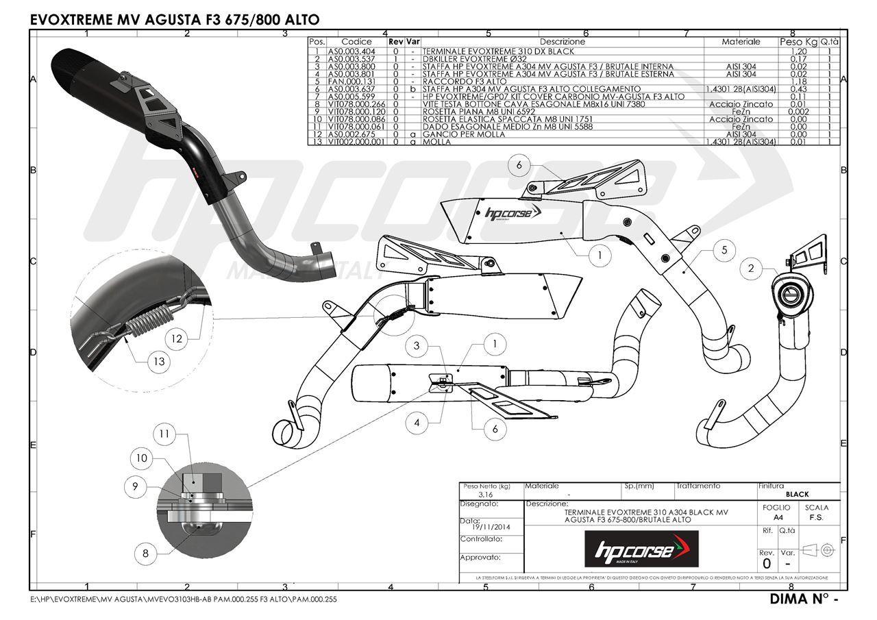 HP Corse. TERMINALE EVOXTREME 310 A304 BLACK MV AGUSTA F3
