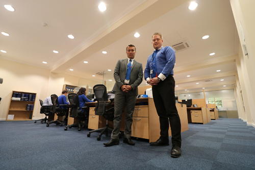 Left to right: Scott Mullins, operations director at Pimlico Plumbers, with John Piece, general manager, in the recently refurbished office.