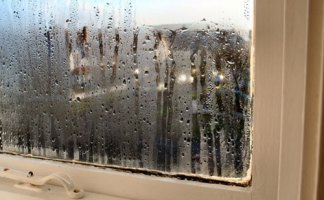 Condensation appears in places where there is little movement of air, such as windows
