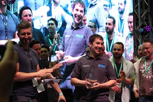Shaun picking up his award at the Installer show