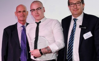 Dale Turner JTL Heating & Plumbing Apprentice of the Year 2018 with JTL chairman Geoffrey Russell (left) and Jon Graham