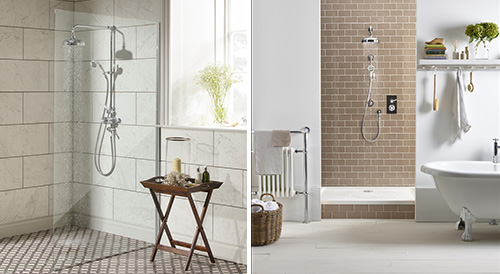 LABC Clifton exposed dual function shower system (left) and the LABC York concealed Dual function shower system.