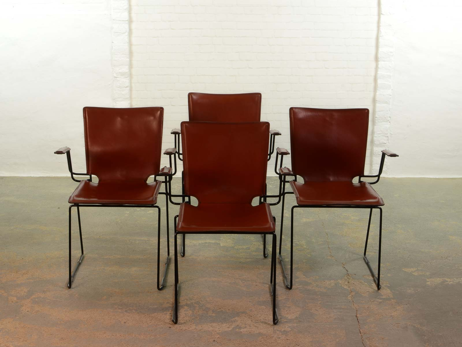 metal frame leather dining chair rattan chairs and table sets italian red enameled black steel