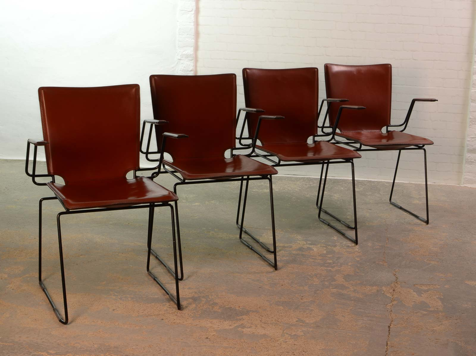metal frame leather dining chair swivel thomas jefferson italian red and enameled black steel