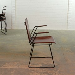 Metal Frame Leather Dining Chair Over Tables Elderly Italian Red And Enameled Black Steel