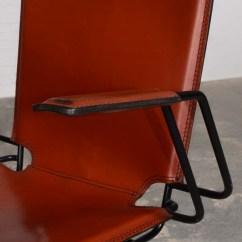 Metal Frame Leather Dining Chair Rentals Las Vegas Italian Red And Enameled Black Steel