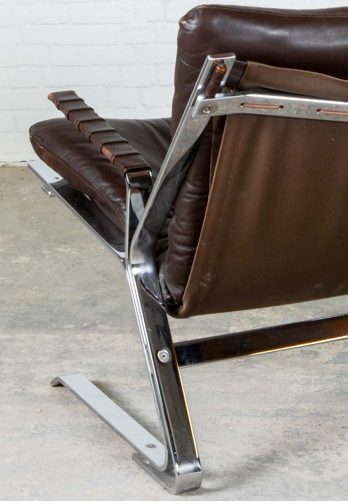 easy chair nadir steel chrome brown leather with ottoman mid century 39pirate 39 chairs by elsa and nordahl