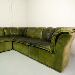 Green Leather Corner Sofa Bed Faux Cover Mid Century Modular Patchwork By Laauser In Olive
