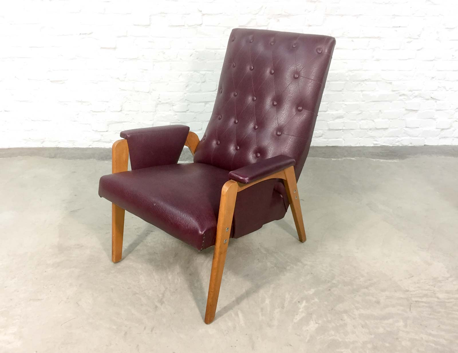 red lounge chair leather wingback chairs south africa dutch design burgundy 1960s hpvintage