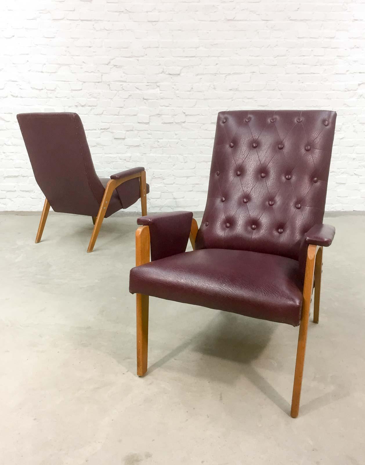 red lounge chair plantation cushions dutch design burgundy 1960s hpvintage