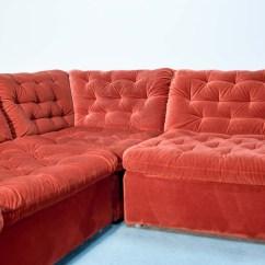 Bright Sofa Beds In Dallas Tx Mid Century Vermilion Red Velvet 1970s Modular