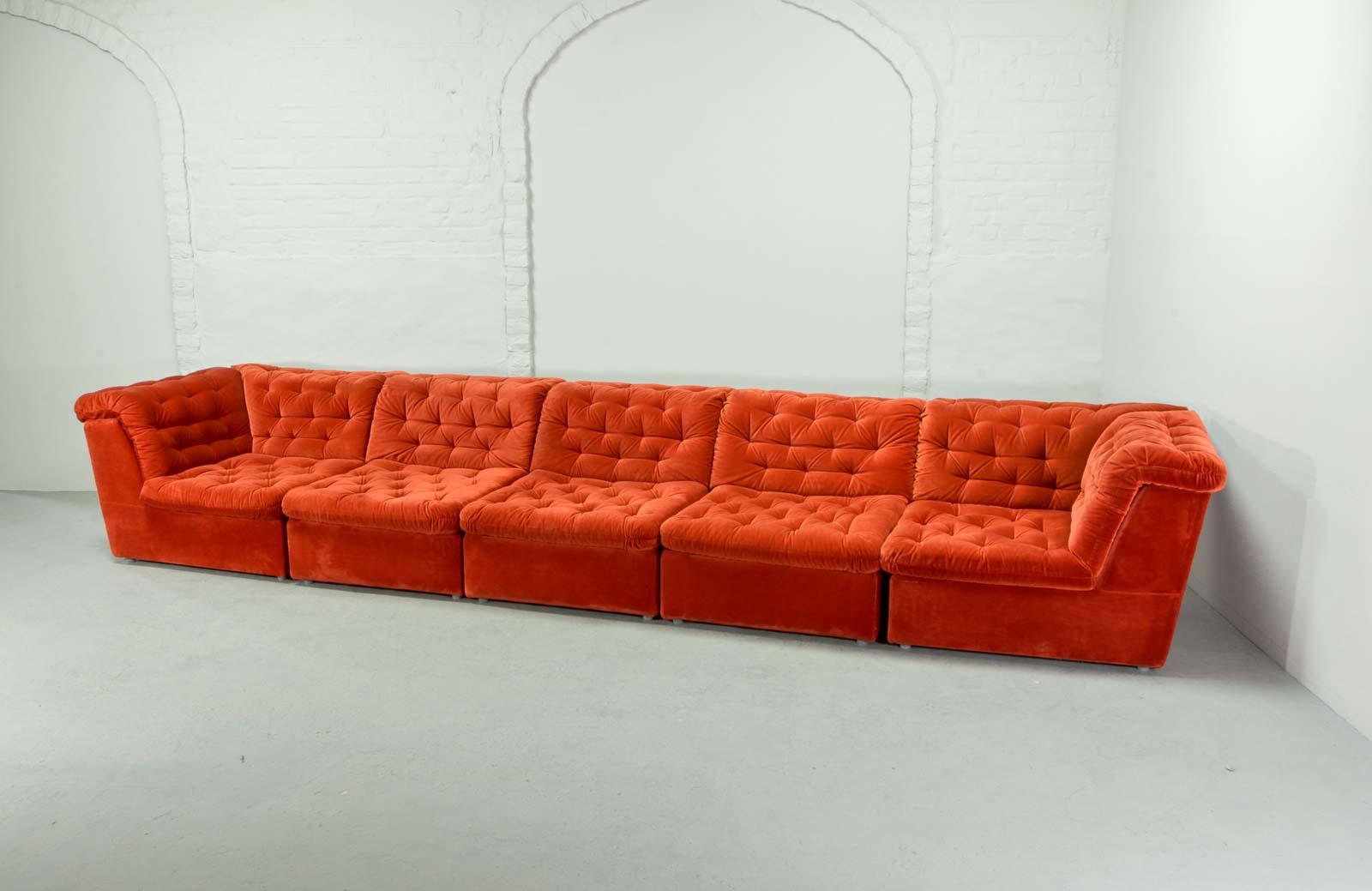 bright sofa simple bed mid century vermilion red velvet 1970s modular