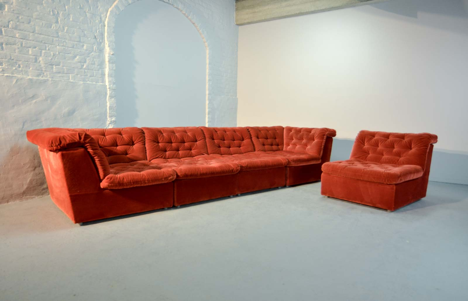 bright sofa fabric protection for new mid century vermilion red velvet 1970s modular